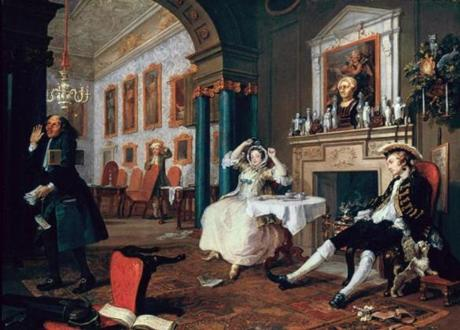 "In Hogarth's ""Marriage a la Mode: The Tête a Tête,"" the man with the account books walks off in disgust (left)."